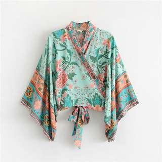 Green Two Style Floral Kimono