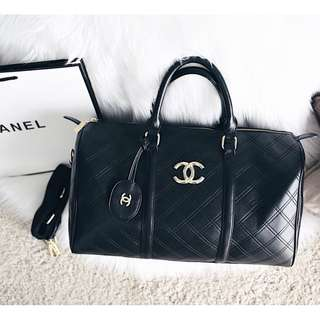 Chanel Duffle Flat Quilted Travel Bag
