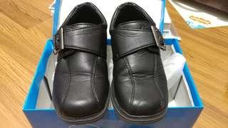 Black Leather Shoes - Velcro