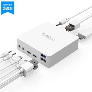 ORICO ADS4 Type-c to HDMI / Gigabit Ethernet / USB3.0 Splitter Docking USB to RJ45 Cable Interface PD Two-Way HUB Hub Apple Mac Extended White