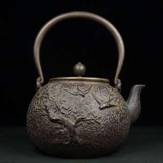 龜文堂樹鳥紋鐵壺