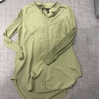 H&M Army green top with studs
