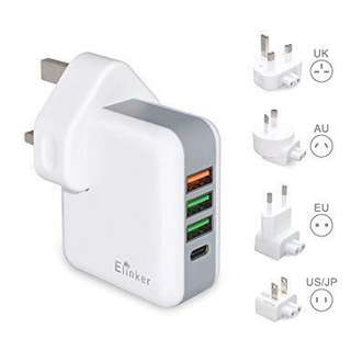 USB Charger Plug Elinker®4-Ports International Travel Charger Adapter with UK EU US AU International Plug Quick Charge 3.0 Tech Type C for MacBook Wall Charger for Apple iPhone ,iPad, Samsung Galaxy, Smartphone, Tablet
