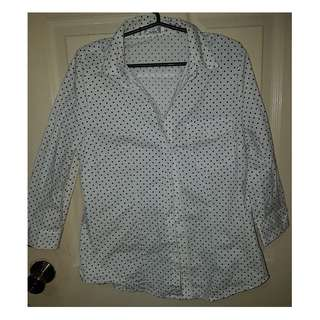 Black and White Polka Dot Long-Sleeved Polo for Ladies