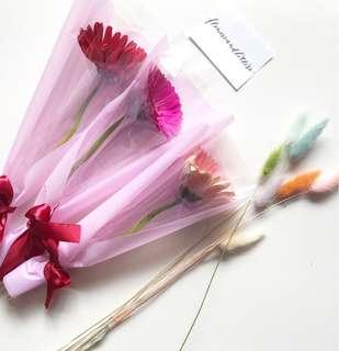 Gerbera daisy fresh flower bouquet real flowers single stalk hand bouquet