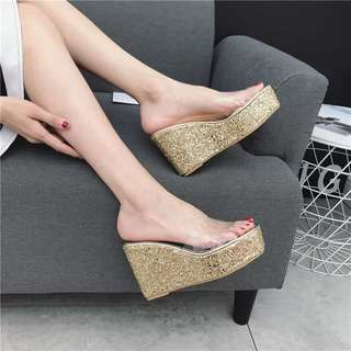 2018 Summer New Women's Slippers High-heeled Flip-flop Thick-soled Sponge Women Sandals