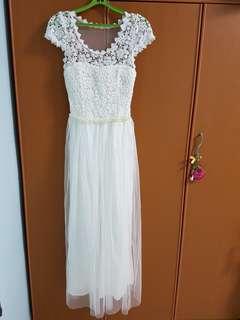 white crochet long dress