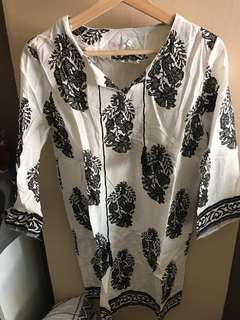 Black patterned boho top