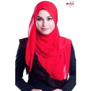 Shawl Labuh Jameela Chiffon Plain NAJWA Merah - C51