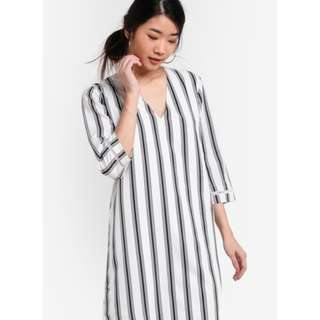 A-Line Striped Shift Dress