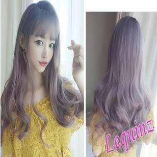 Instocks Full Head Wavy Hair Wig Black to Purple Ash Brown