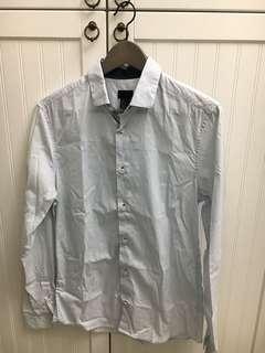 「H&M」男生 淺藍直條紋襯衫