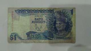 Old ringgit malaysia note- rm1