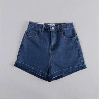 *BRAND NEW* INSTOCK High Waisted Dark Blue Denim Shorts
