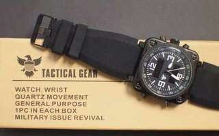 for sale : Tactical Gear Quartz Military Issue Revival watch in a box.  Display: Analog and Digital Color : Matte black  Material: Silicone / rubber   Used Once. Rfs: Malaki sa Akin.