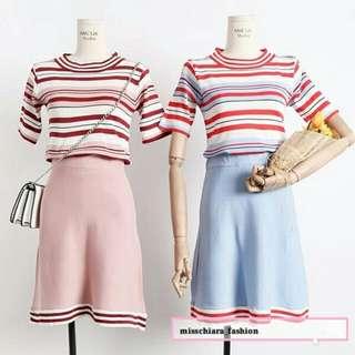 需預訂 條紋針織衫+半身裙