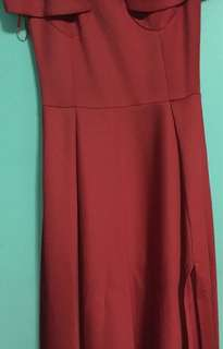 Red off-shoulder long gown
