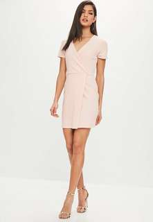 Missguided Nude Short Sleeve Wrap Front Bodycon Dress