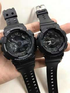 GSHOCK MATTE BLACK COUPLE WATCH
