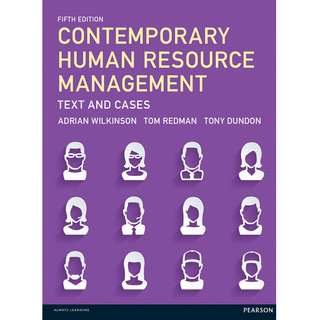 Contemporary Human Resource Management Text and Cases 5th Fifth Edition by Adrian Wilkinson, Tom Redman, Tony Dundon - Pearson