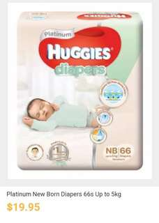 Huggies Newborn Diapers 66pc (upto 5 kg)