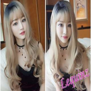 Full Head Wavy Hair Wig Black to Butter Blonde Upgraded Scalp