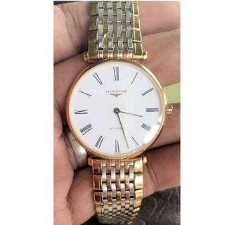 Gold Plated Longines La Grande Classique 36mm Automatic Stainless Steel Case Multicolor Steel Bracelet Synthetic Sapphire Men's Watch