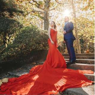 Bright red dress with long tail Worn only once for pre-wedding shoot Price negotiable