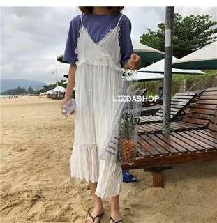 🚚 5/2 ☻ ʟɪᴢᴅᴀsʜᴏᴘ 🛒韓版寬鬆長款雪紡吊帶連身裙 #016