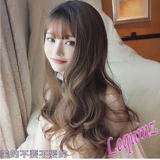 Wavy Air Bangs Ombre Black to Honey Pudding Full Head Wig