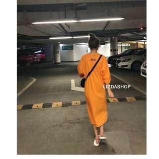 🚚 5/1 ☻ ʟɪᴢᴅᴀsʜᴏᴘ 🛒  韓版慵懶胸前口袋長版素大ᴛ連身裙 #016