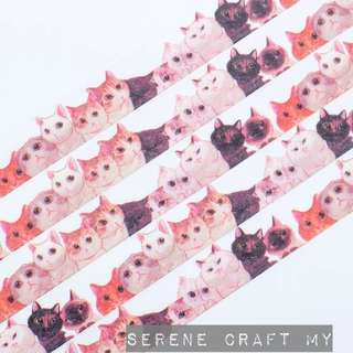 Set of 7m Pink & White Cats Washi Tape