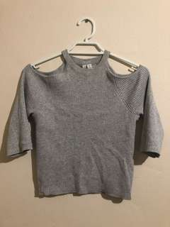 Forever new cold shoulder silver knit top