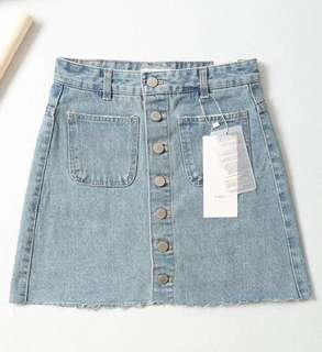 🚚 OshareGirl 05 歐美女士簡約單排釦牛仔裙短裙排釦牛仔裙