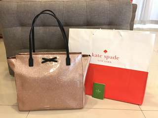 {PRICE REDUCED} 🎉🎉 KATE SPADE Pink Rose Gold Glitter Mavis Street Taden Tote Bag