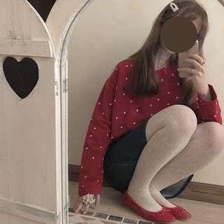 【現貨】日系紅色點點棉質上衣 長T 古著 古着