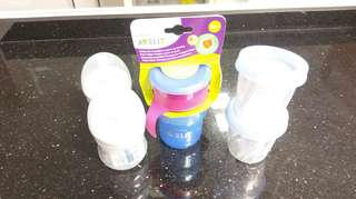 Milk bottles and cups set