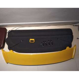 Honda Fit 2008 yellow used Spoiler (SGD 180) , used IU cover,(SGD 5) , As New Hardcover Tonneau cover(SGD 120)