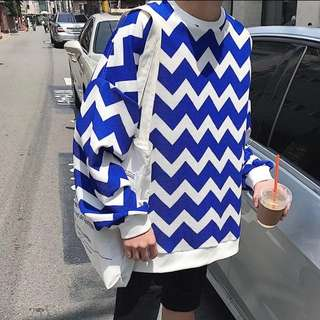 Fashion Zigzag Sweater Dope Stripes Hoodie sleeve oversized