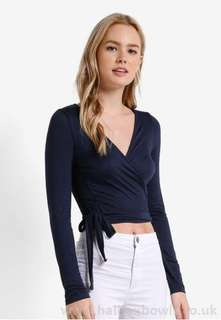 Cotton on wrap front top