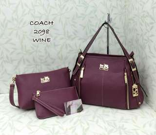 Coach Handbag 3 in 1 Wine Color