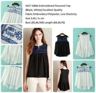Embroidered Flounced Top
