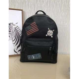 精品代購COACH 23251最新款黑色徽章款男士雙肩背包 雙隔層 超大容量