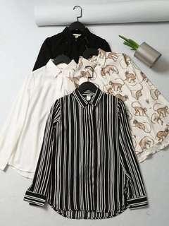 🚚 OshareGirl 05 歐美女士純色時尚條紋印花長袖襯衫