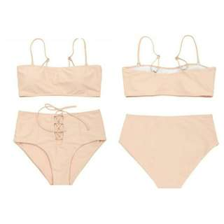 REPRICED!!! High waisted lace-up bikini set