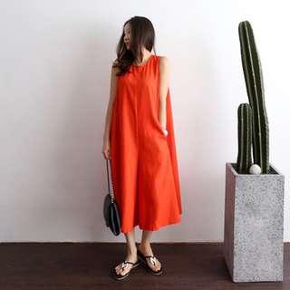 [PO] Oversized Tank Culottes Ribbon Playsuit in Orange