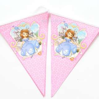 10 Flags/Pack Sofia Princess Paper Flag Banner Kids Boy Girl Baby Birthday Party Decoration Kids Supplies Favors