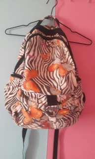 Zebra print with butterflies backpack