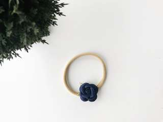 Petite small rose with gold leaves baby headband - Navy blue