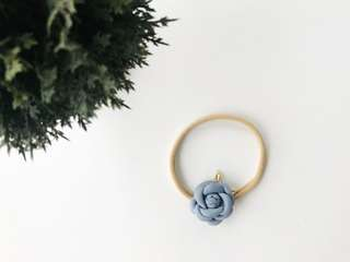 Petite Small rose with gold leaves headband - Dusty blue